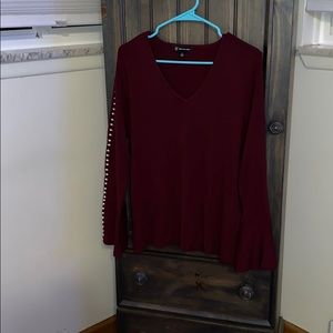 INC maroon v-neck sweater with pearls size 1x